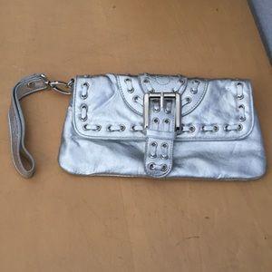 NEW- Cache silver clutch